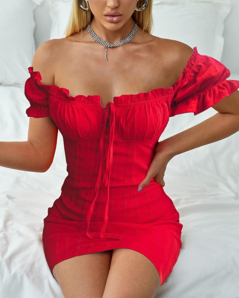 joyshoetique / Off Shoulder Smocked Bodycon Dress