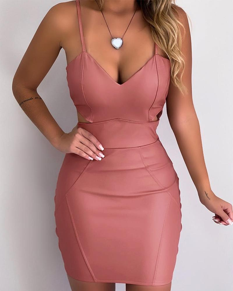 Spaghetti Strap Cutout Coated PU Bodycon Dress, Pink
