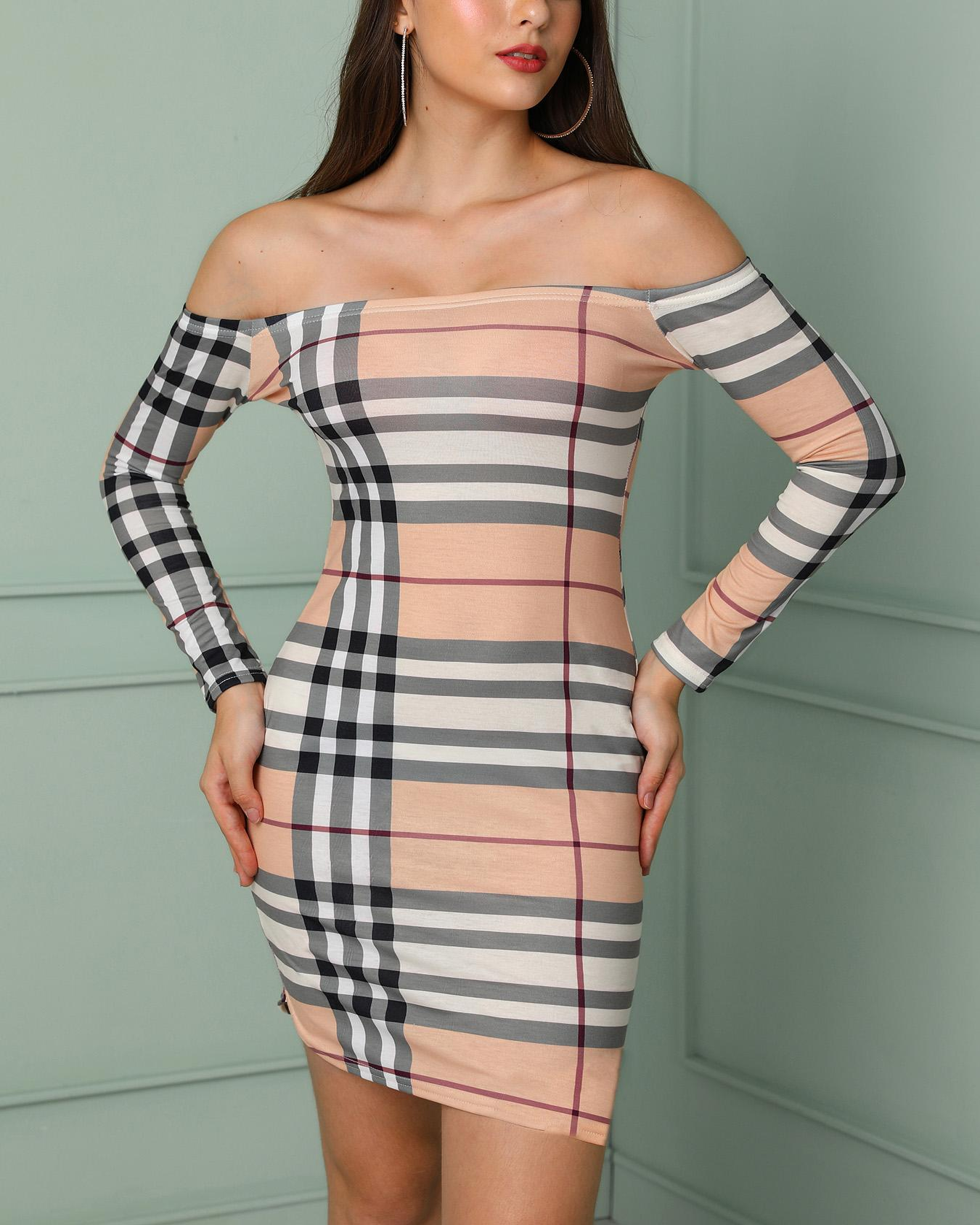 Plaid Print Off Shoulder Long Sleeve Bodycon Dress, Khaki