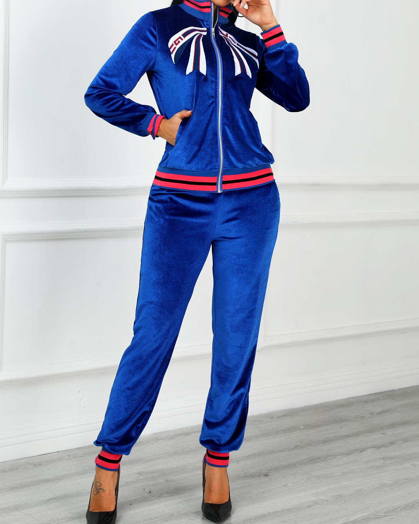 Velvet Stripes Taped Embroidery Detail Tracksuit