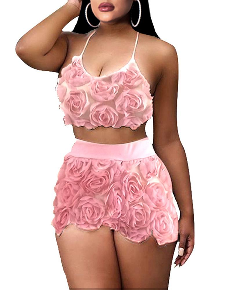 Flower Applique Cami Top With Shorts