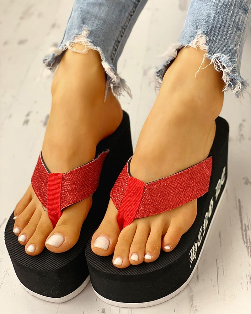 ivrose / Toe Post Plataforma Muffin Sandals