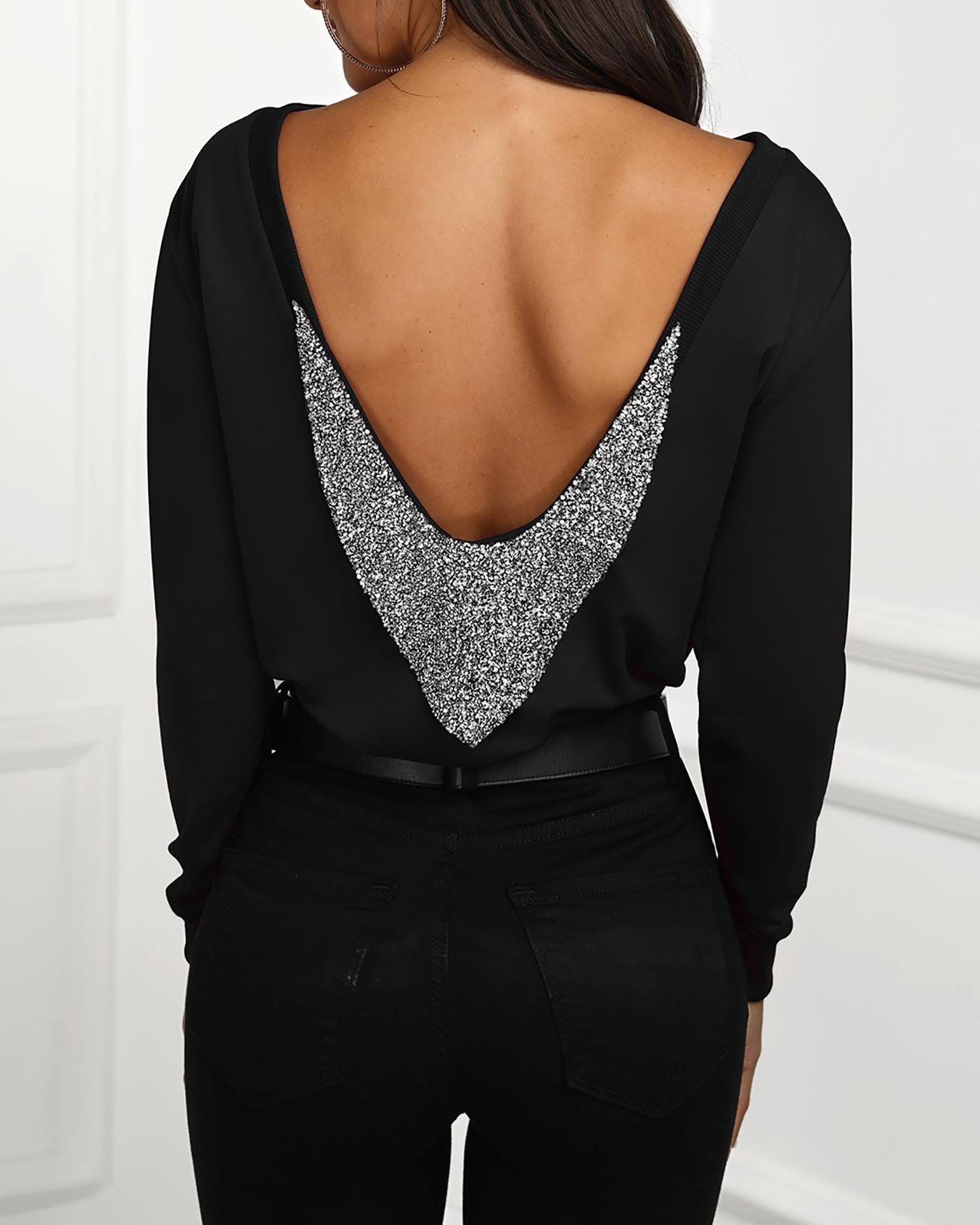 Shiny Sequins Embellished Open Back Blouse