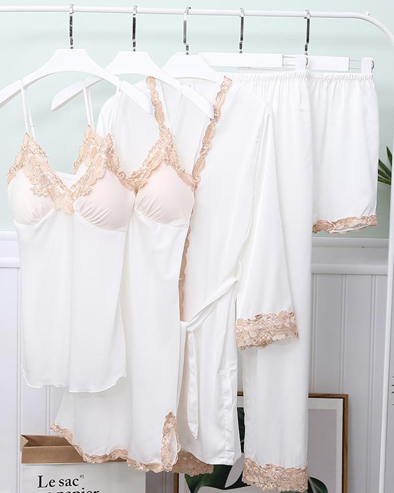 Comfy Ice Slik Five-piece Cami Pajamas Sets фото
