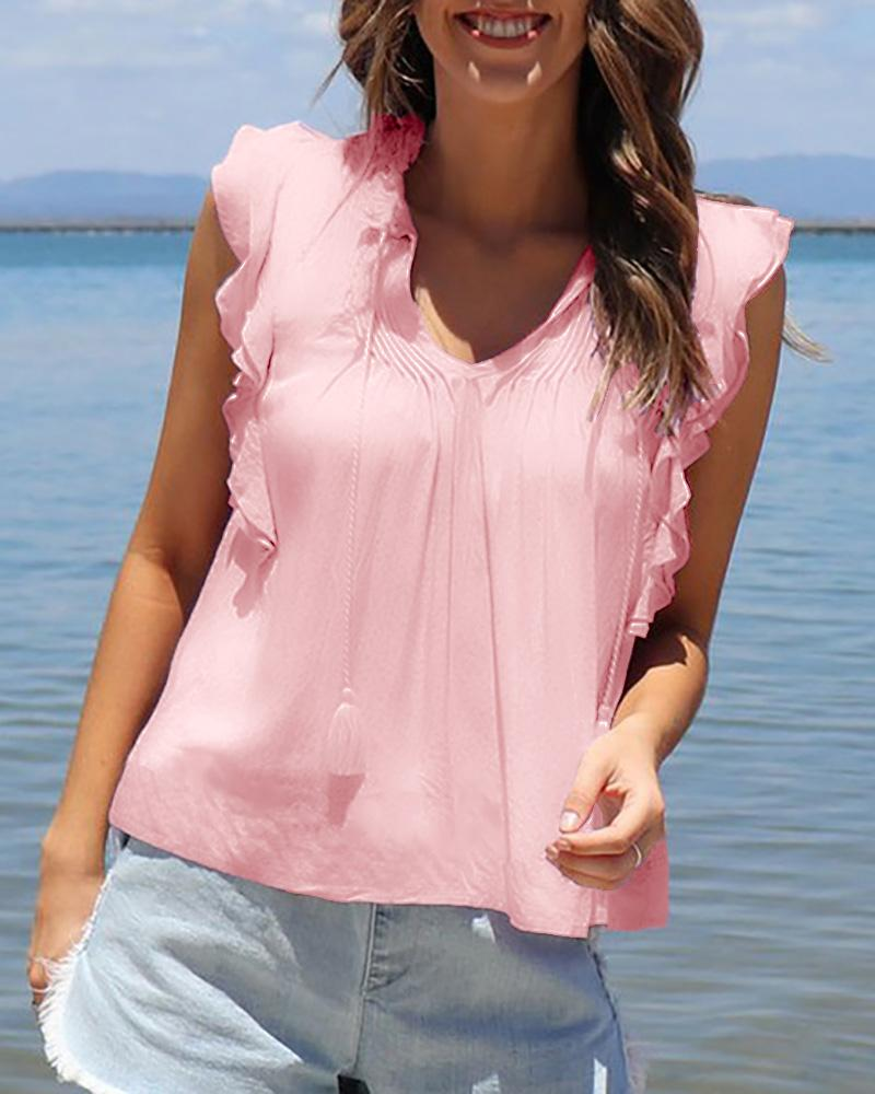 V Neck Ruffle Trim Ruched Detail Casual Tank Top фото
