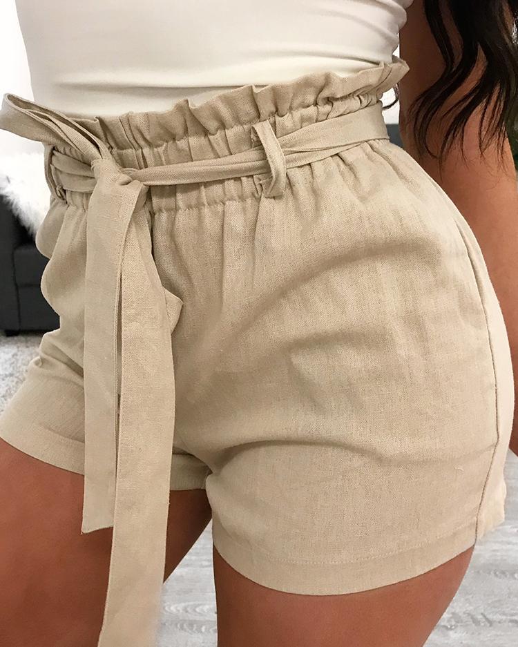 ivrose / Pantalones cortos de cintura alta con cintura elástica