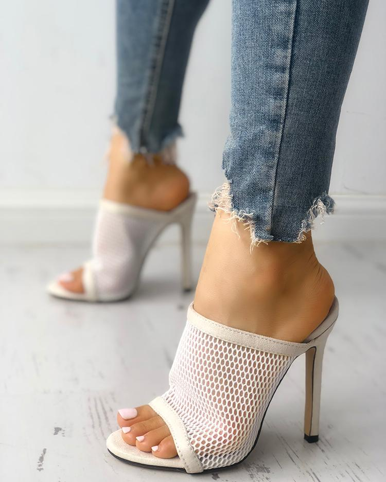 joyshoetique / Fishnet Peep Toe Thin Heeled Sandals