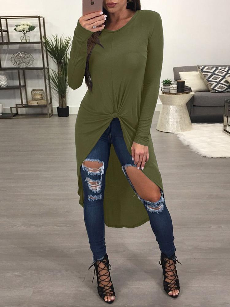 Asymmetrical Curved Hem Casual Blouse