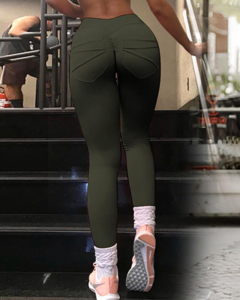 Pocket Design High Waist Ruched Yoga Pants фото
