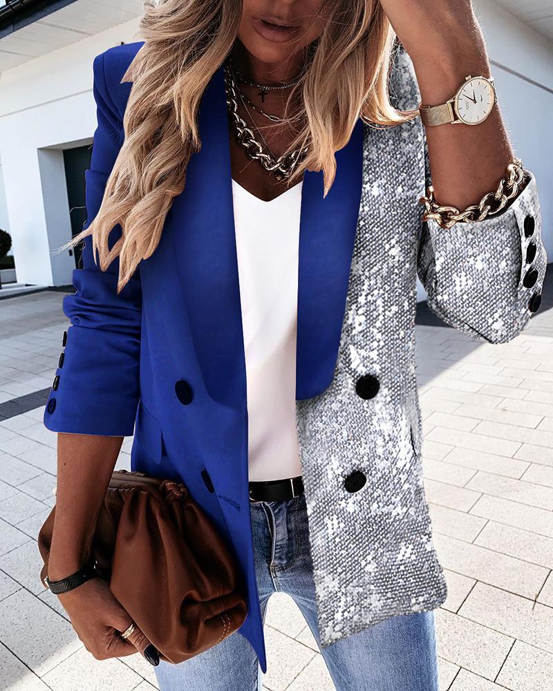boutiquefeel / Abrigo blazer cruzado de manga larga con lentejuelas