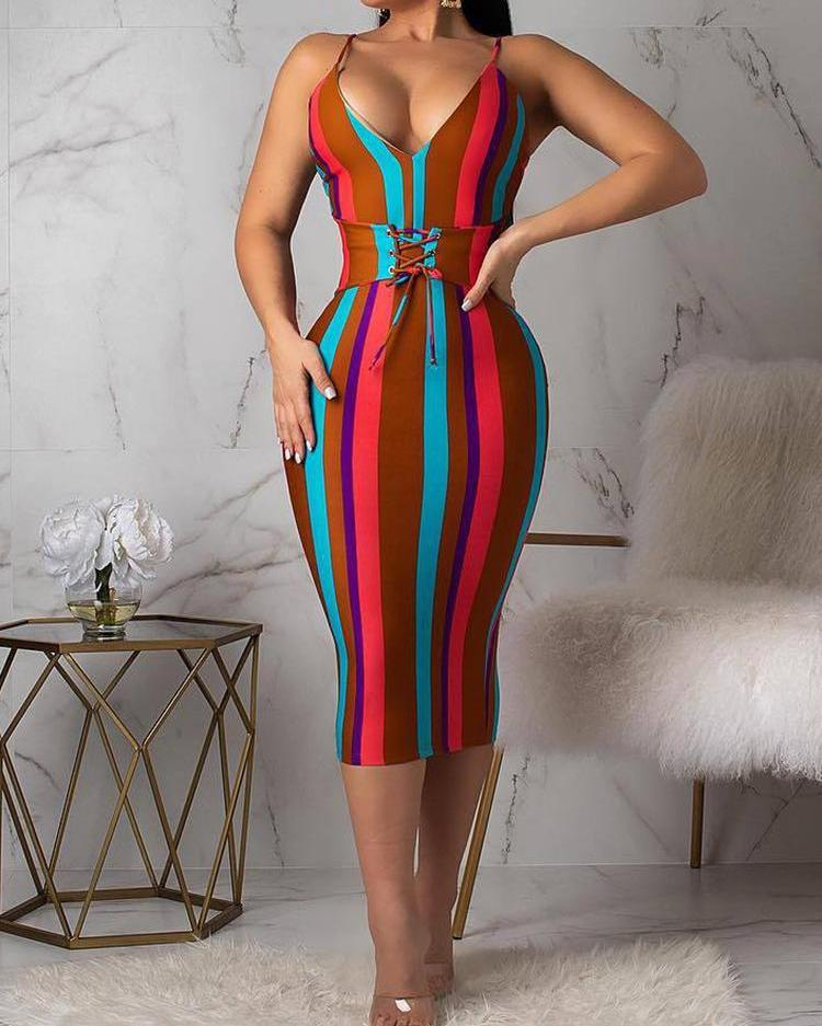 chicme / Multicolored Striped Lace-up Waist Bodycon Dress