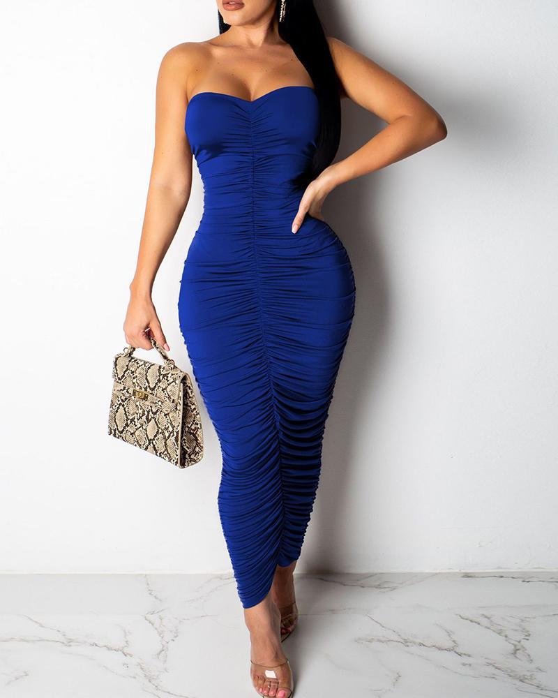chicme / Tube Ruched Solid Midi Dress