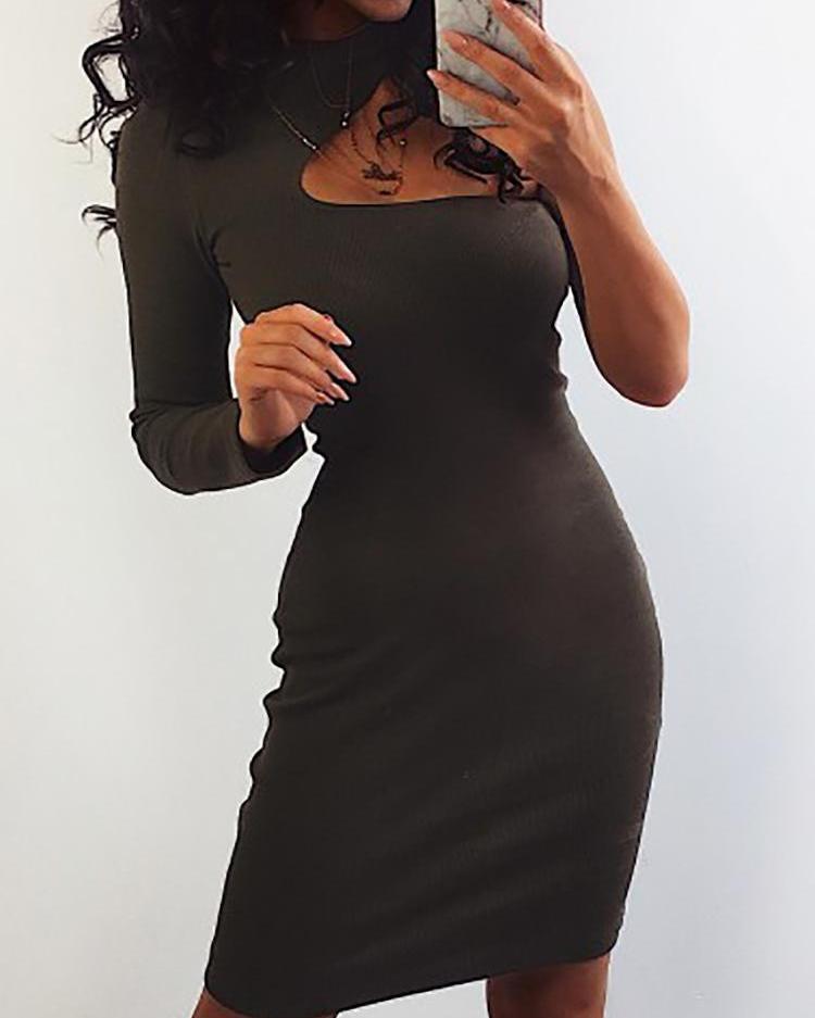 Solid One Shoulder Bodycon Dress фото