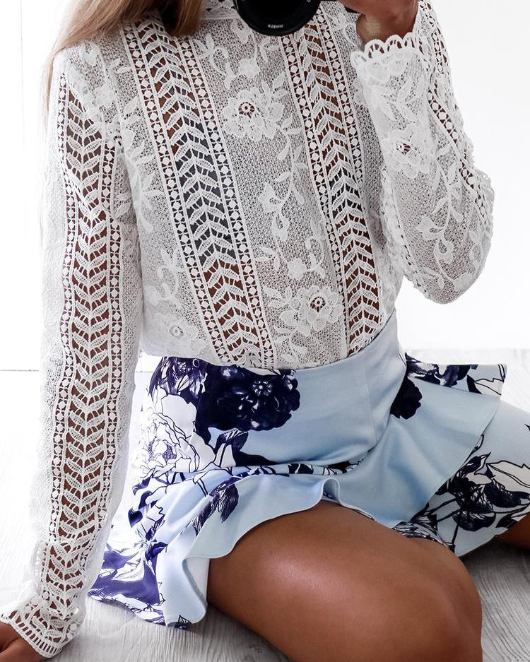 Lace Hollow Out Scalloped Trim Blouse фото