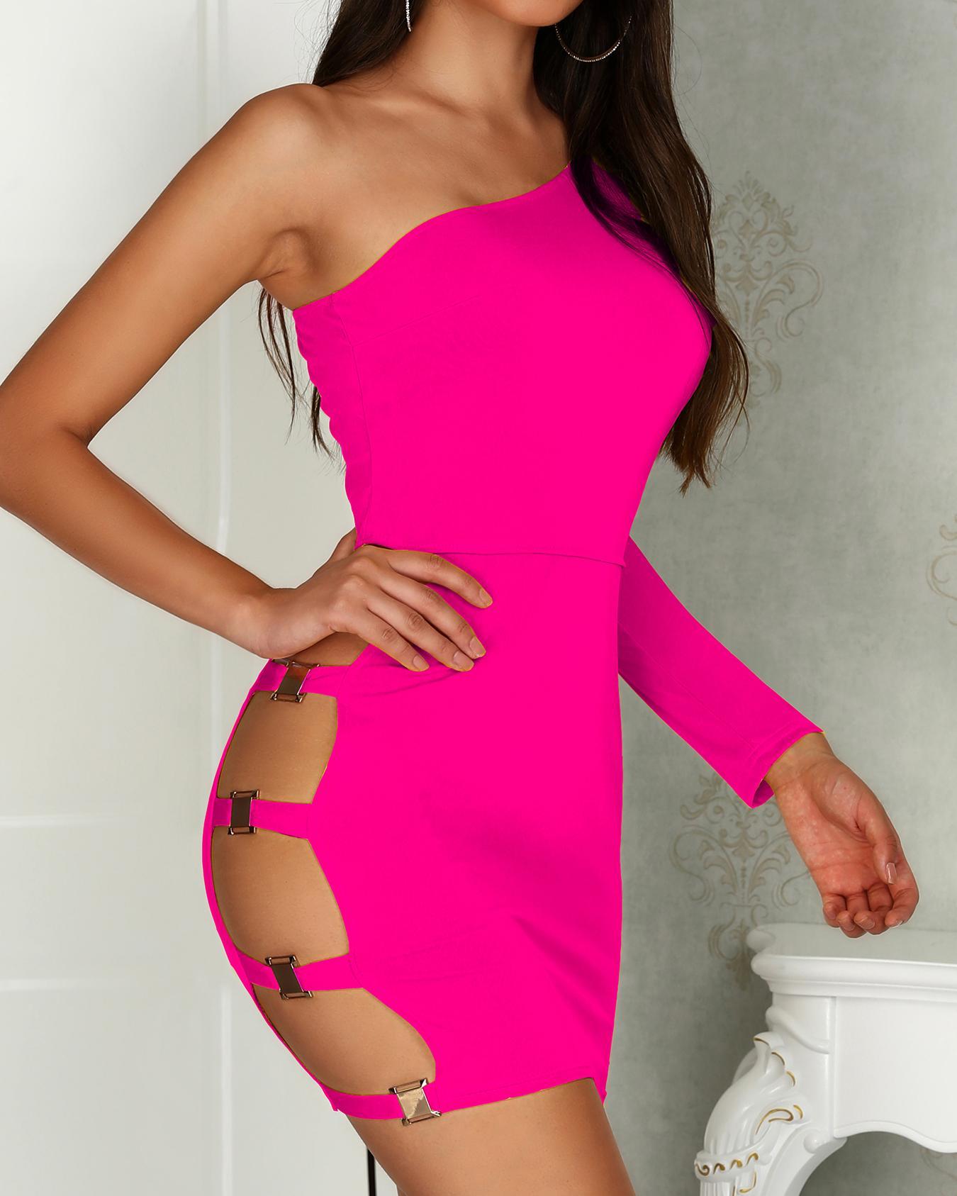Solid Ladder Cutout One Shoulder Sheath Dress