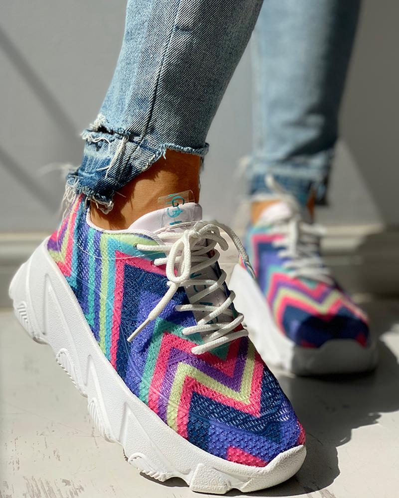 boutiquefeel / Zapatillas de muffin con cordones y rayas multicolores transpirables de punto
