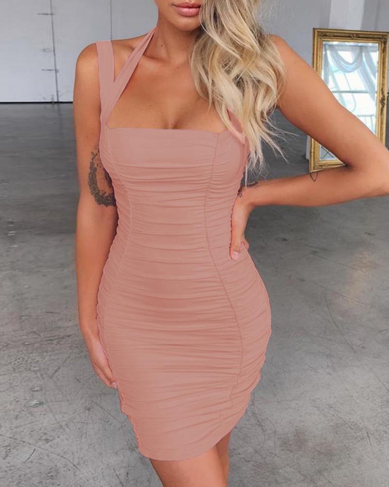 Halter Thin Strap Ruched Mini Dress фото