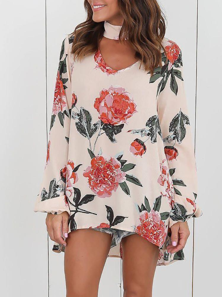 Asymmetrical Floral V Neck Casual Blouse - Beige