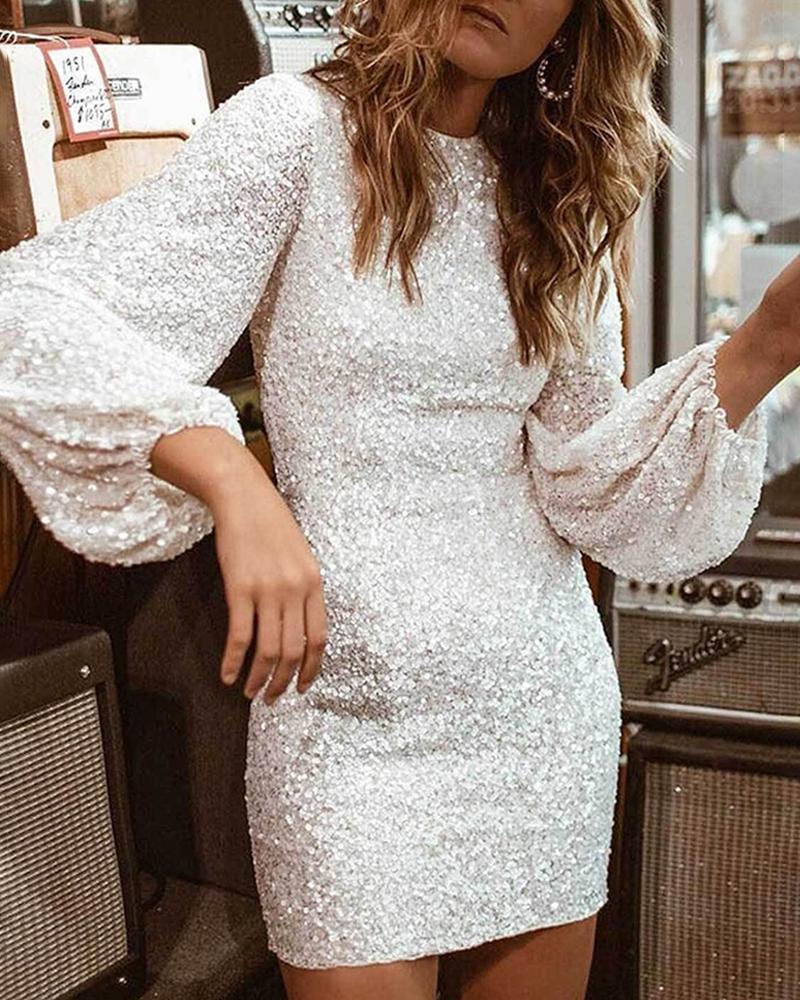 Glitter Round Neck Lantern Sleeve Sequins Bodycon Dress фото