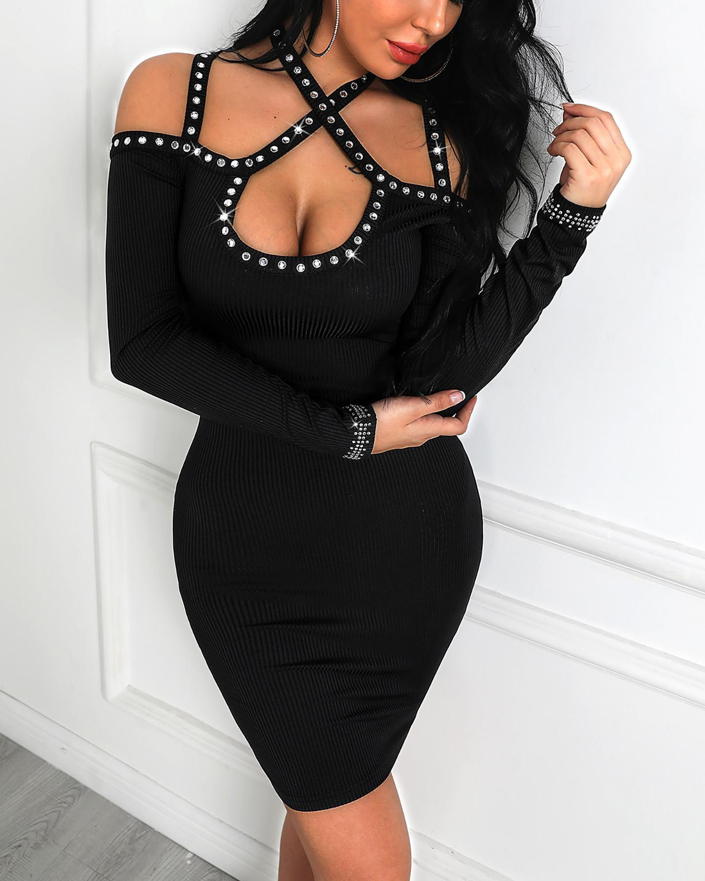 Studded Cold Shoulder Bodycon Dress фото