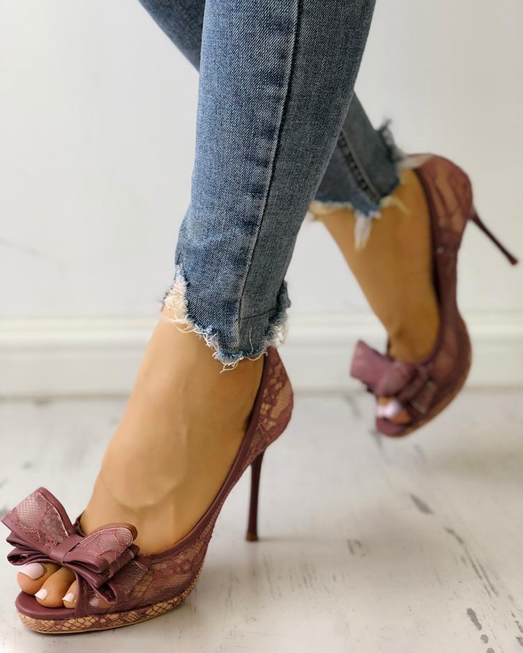 ivrose / Peep toe bowknot fino sandálias de salto alto