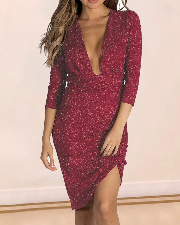 Plunge Glittering Ruched Bodycon Dress