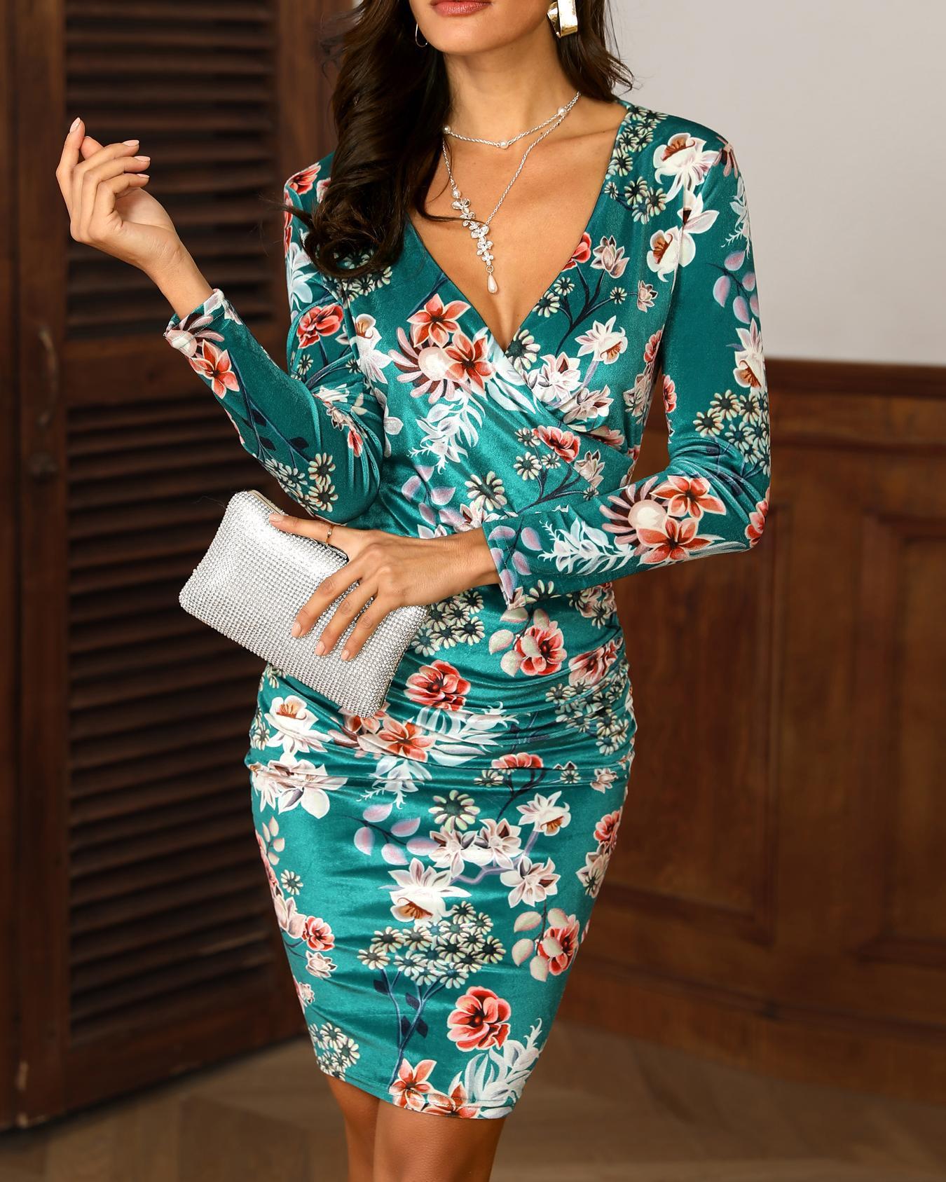 Velvet Floral Print Wrap Midi Dress