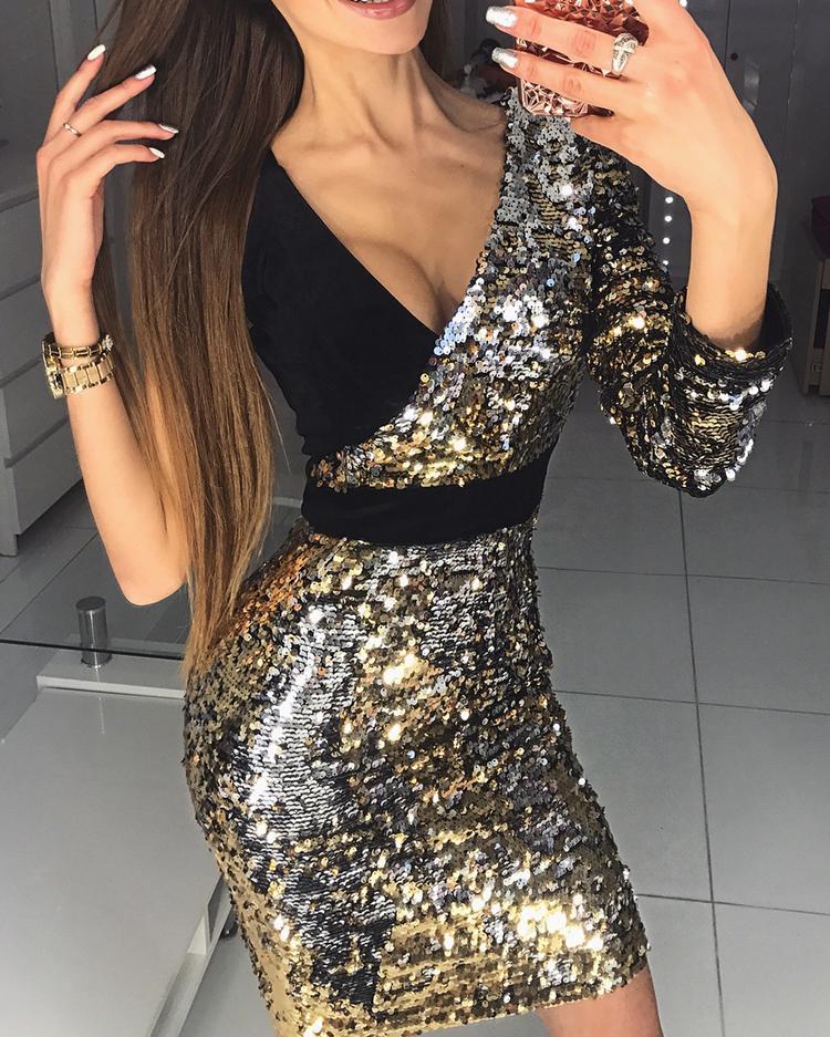 Deep V Splicing One Shoulder Bodycon Sequin Dress фото