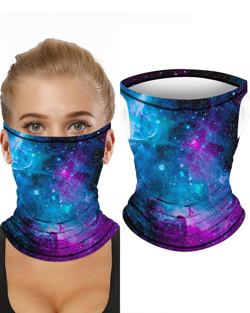 Starry Sky Print Breathable Ear Loop FaceBandana Headwrap фото