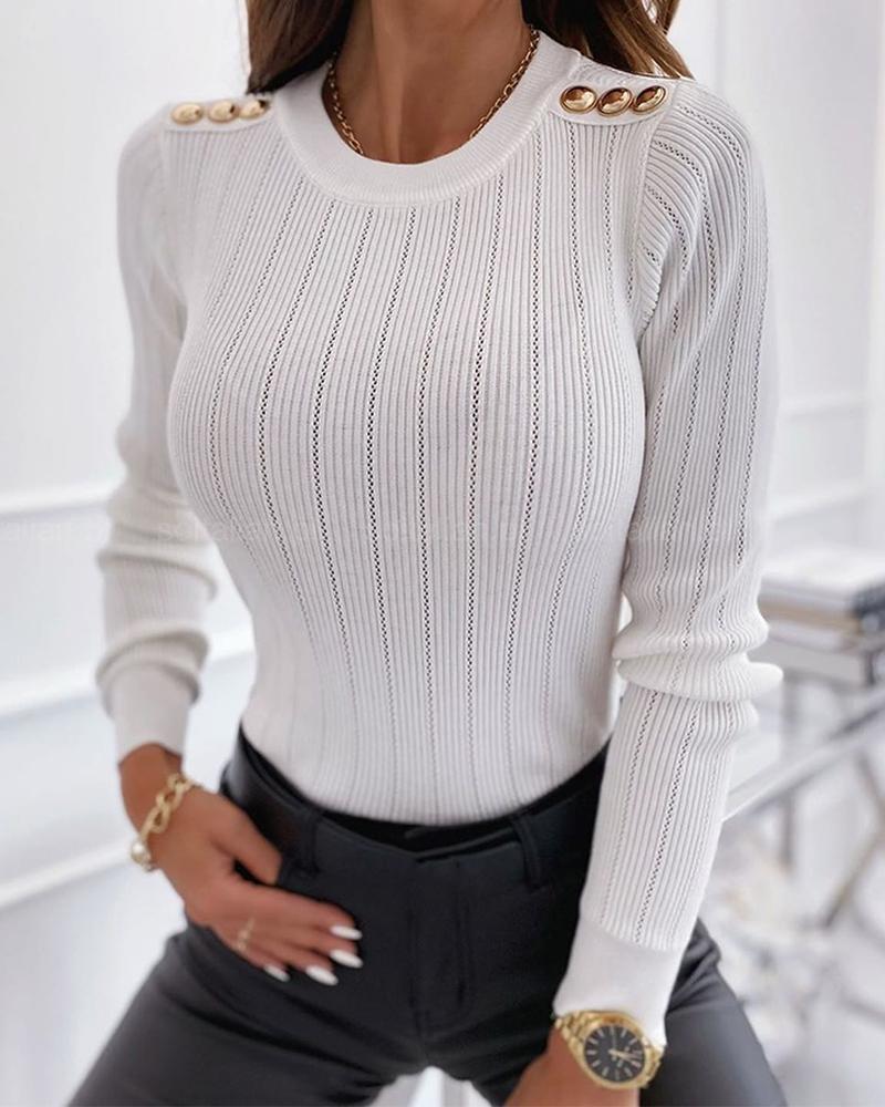 chicme / Blusa sólida de manga comprida com botões finos para emenda