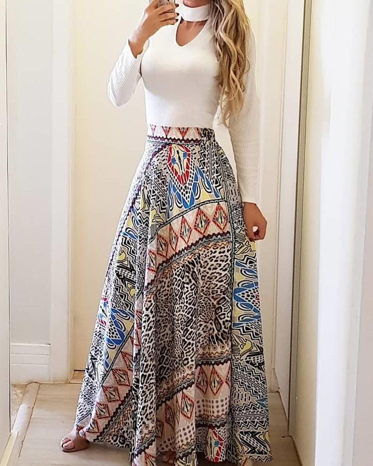 ivrose / Falda casual con cintura alta y estampado étnico