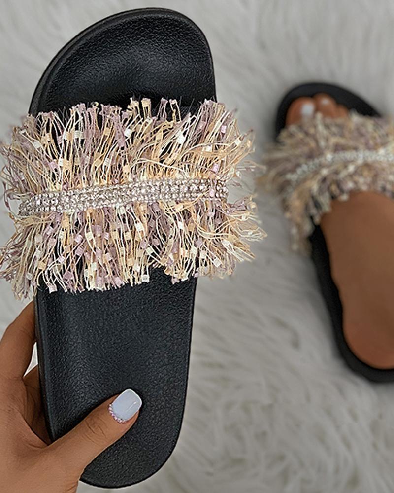 Fringe Studded Open Toe Flat Sandals
