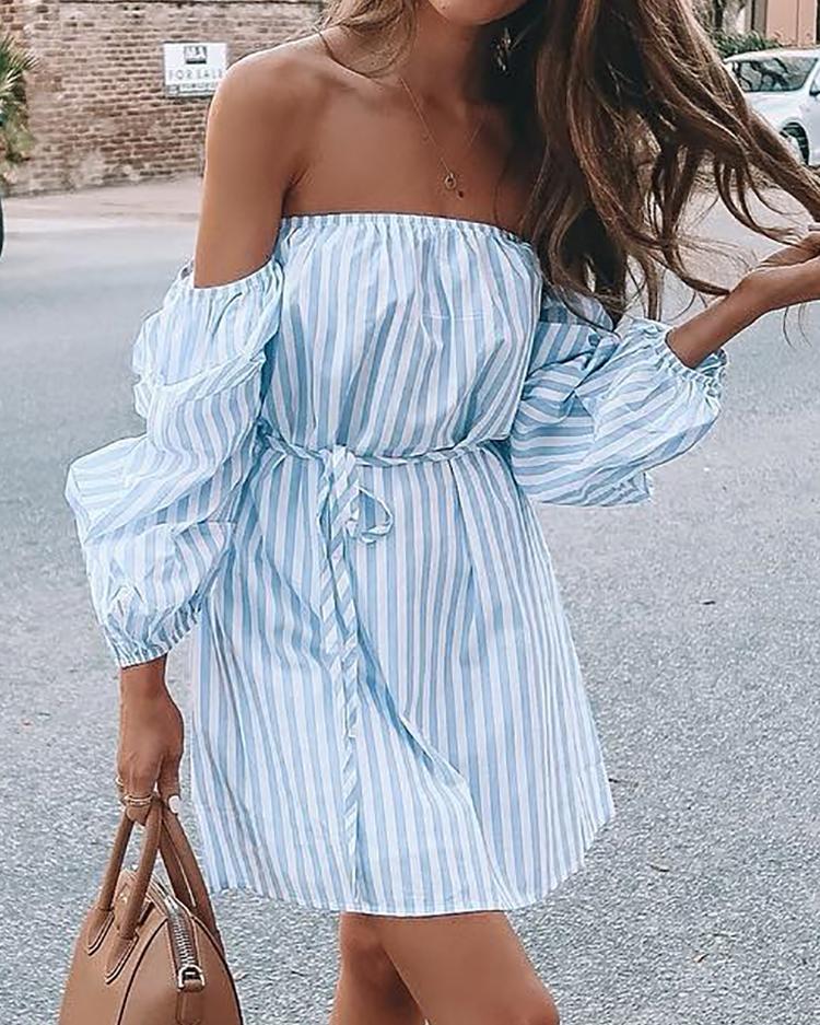 Striped Puff Sleeve Tie Waist Mini Bardot Dress