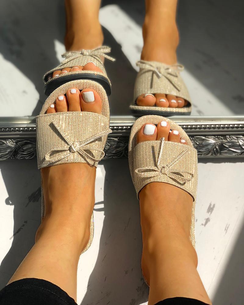 Studded Bowknot Design Flat Slipper Sandals