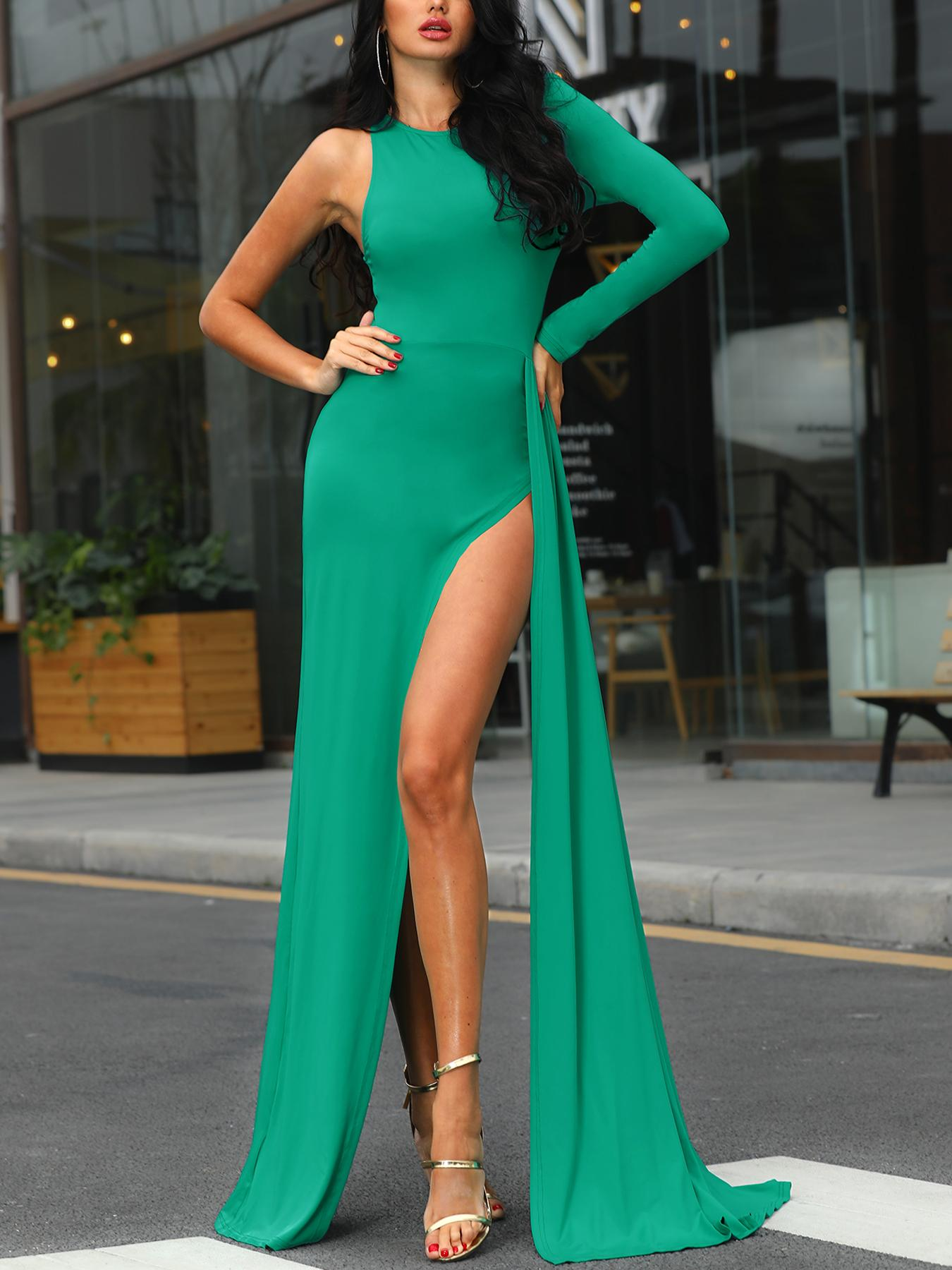 One Sleeve Thigh Slit Evening Dress