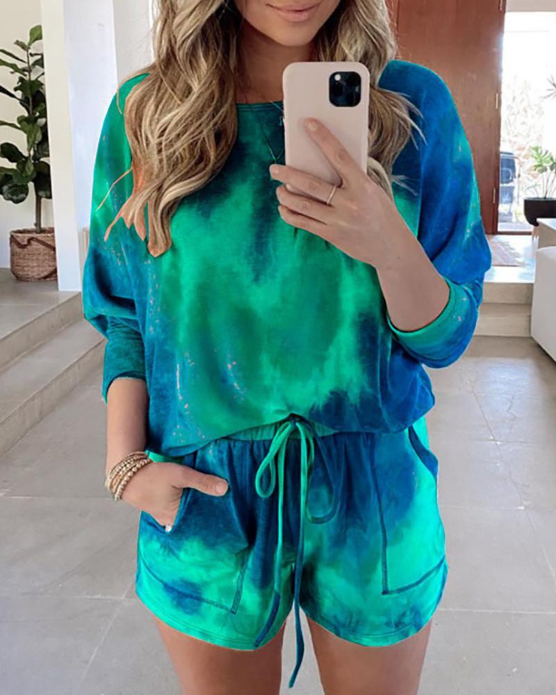 Tie Dye Print Top & Drawstring Shorts Set фото