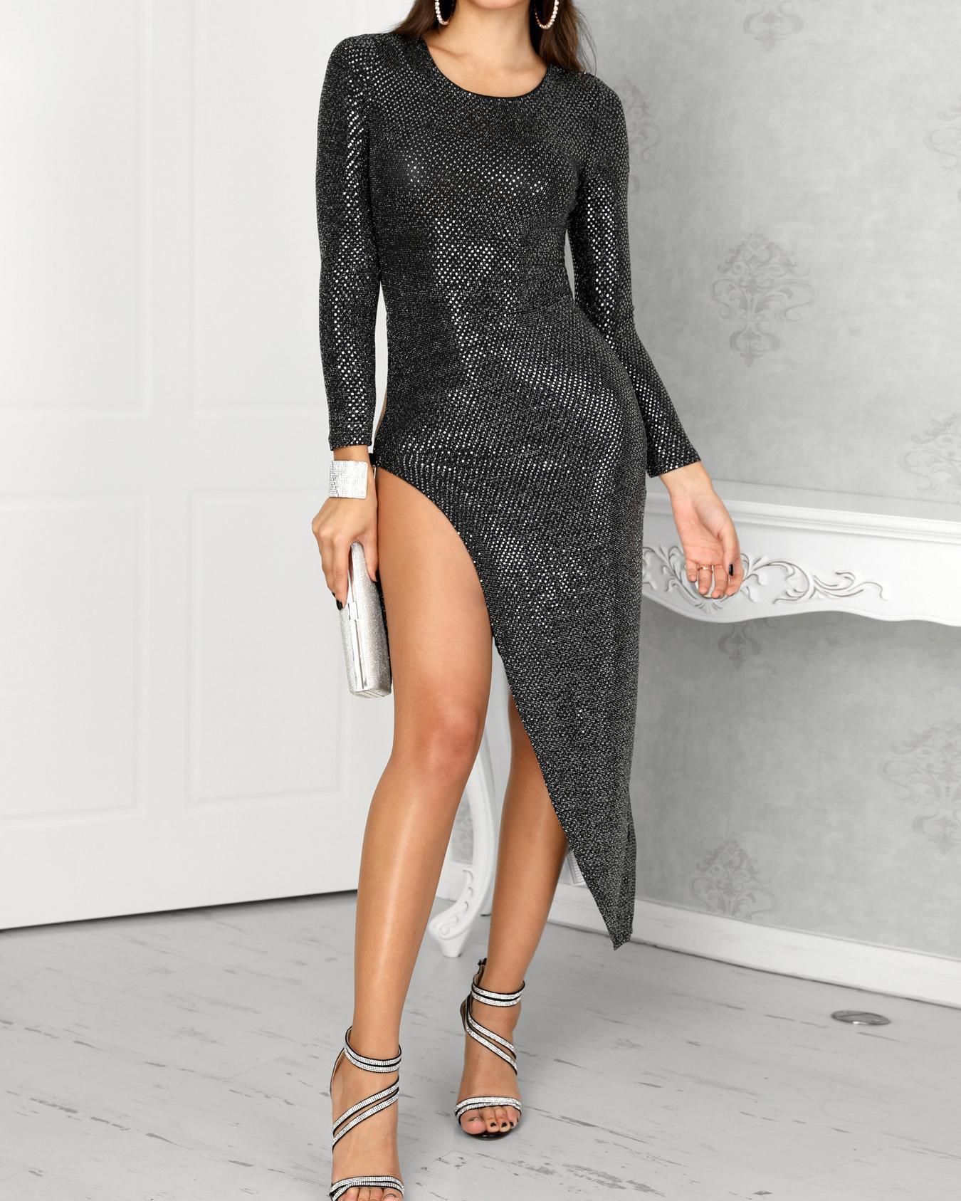 Shiny Knot Side High Slit Irregular Party Dress фото