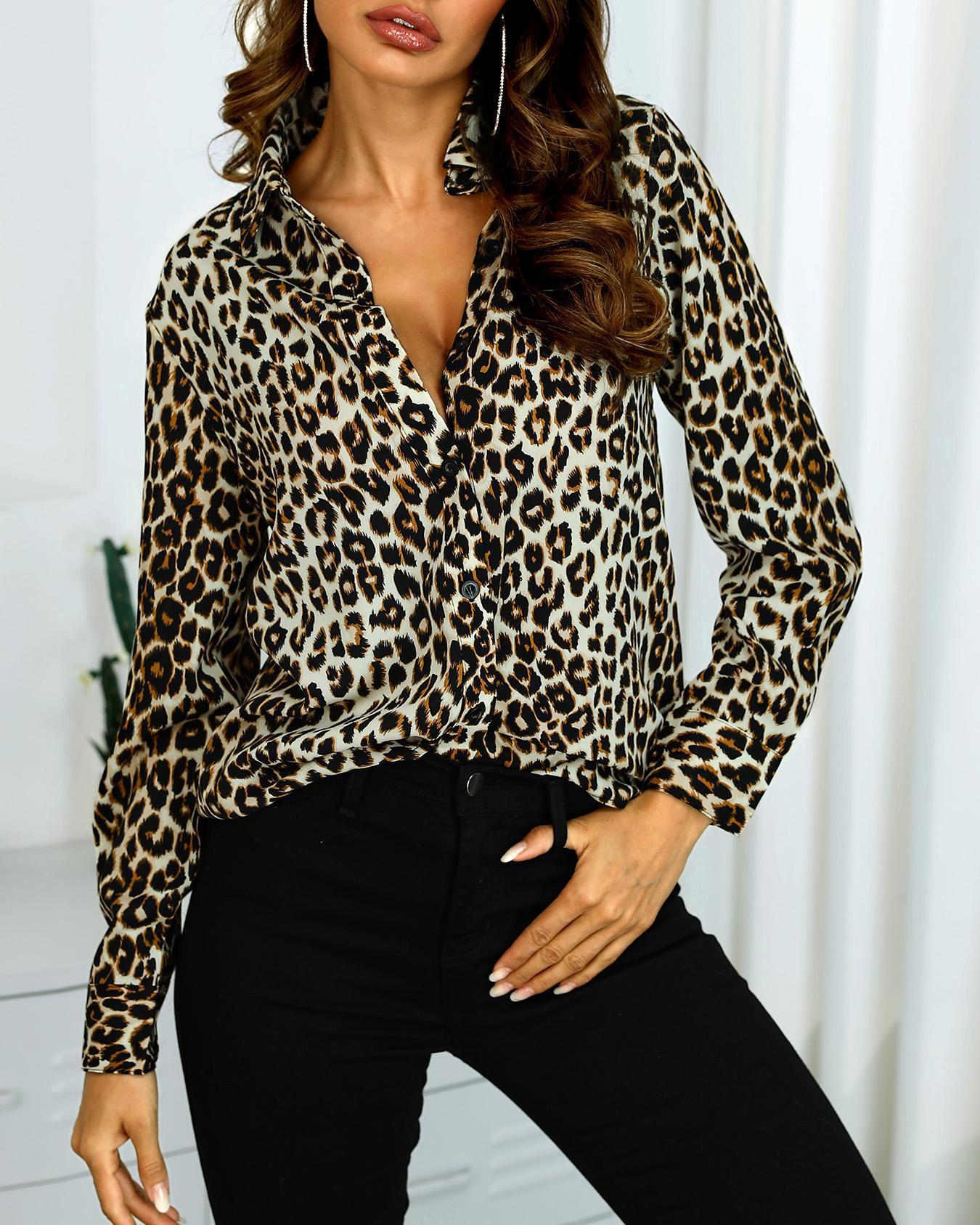 chicme / Camisa Casual de Manga Comprida com Leopardo