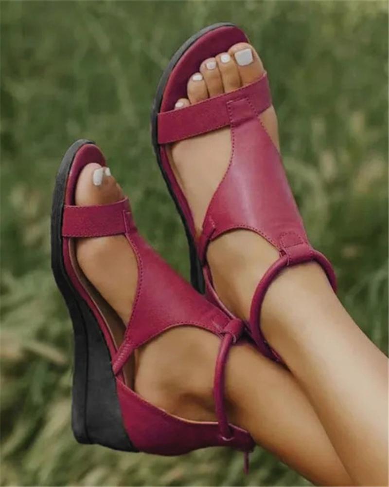 Solid Open Toe Wedge Heel Sandals фото