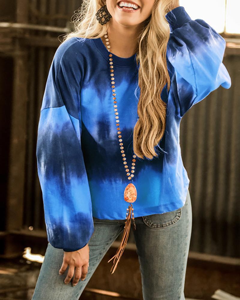 Tie Dye Print Lantern Sleeve Casual Sweatshirt фото