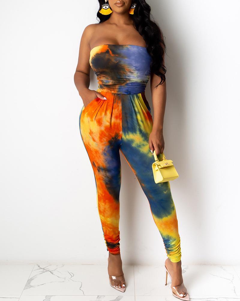 boutiquefeel / Bandeau Tie Dye Print Macacões Ruched