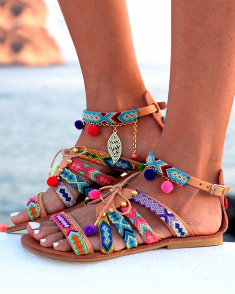 Купить со скидкой Ethnic Style Pom Pom Lace-up Casual Flat Sandals
