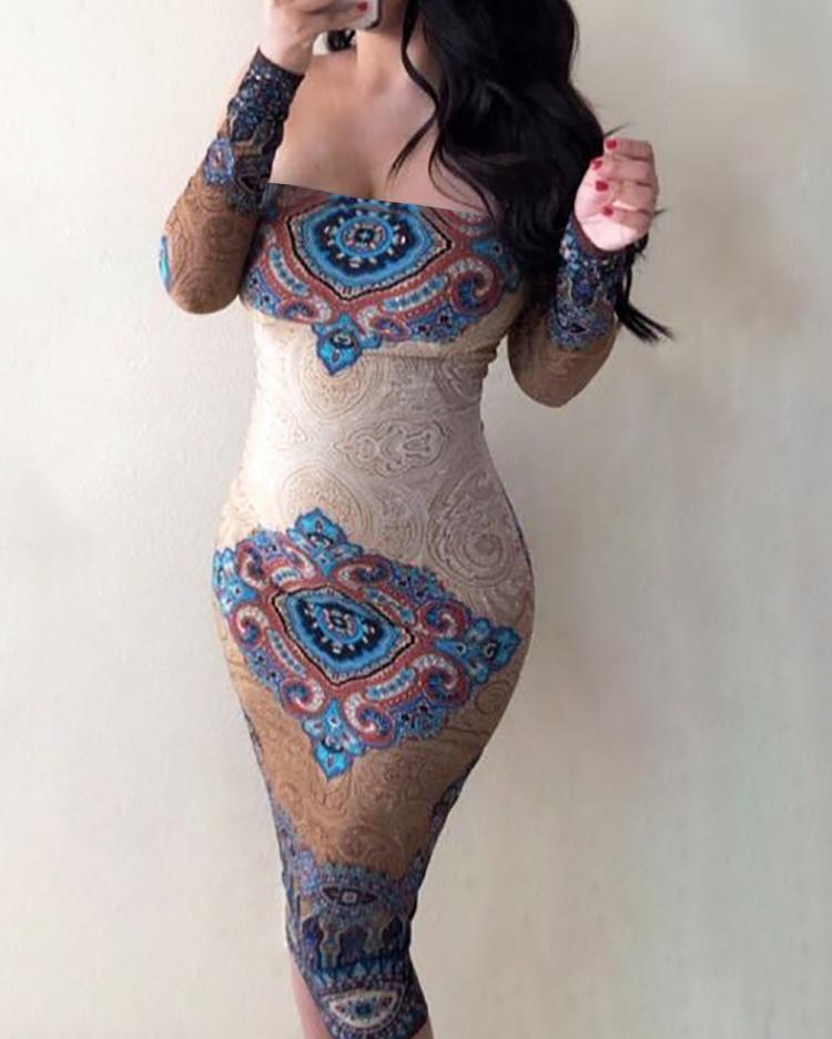 Ethnic Print Off Shoulder Long Sleeve Bodycon Dress фото
