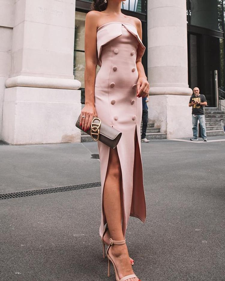 Fold Over Double-Breasted Slit Maxi Dress фото