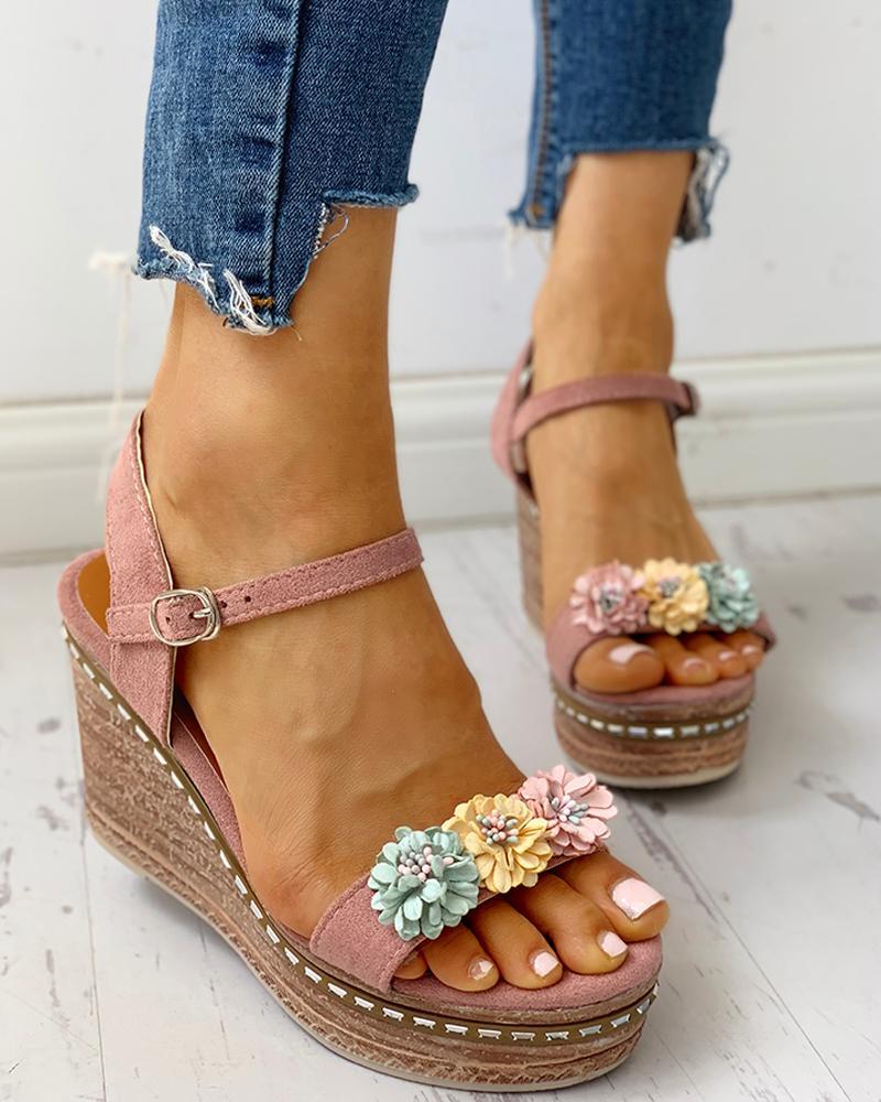 Suede Flower Embellished Platform Wedge Sandals