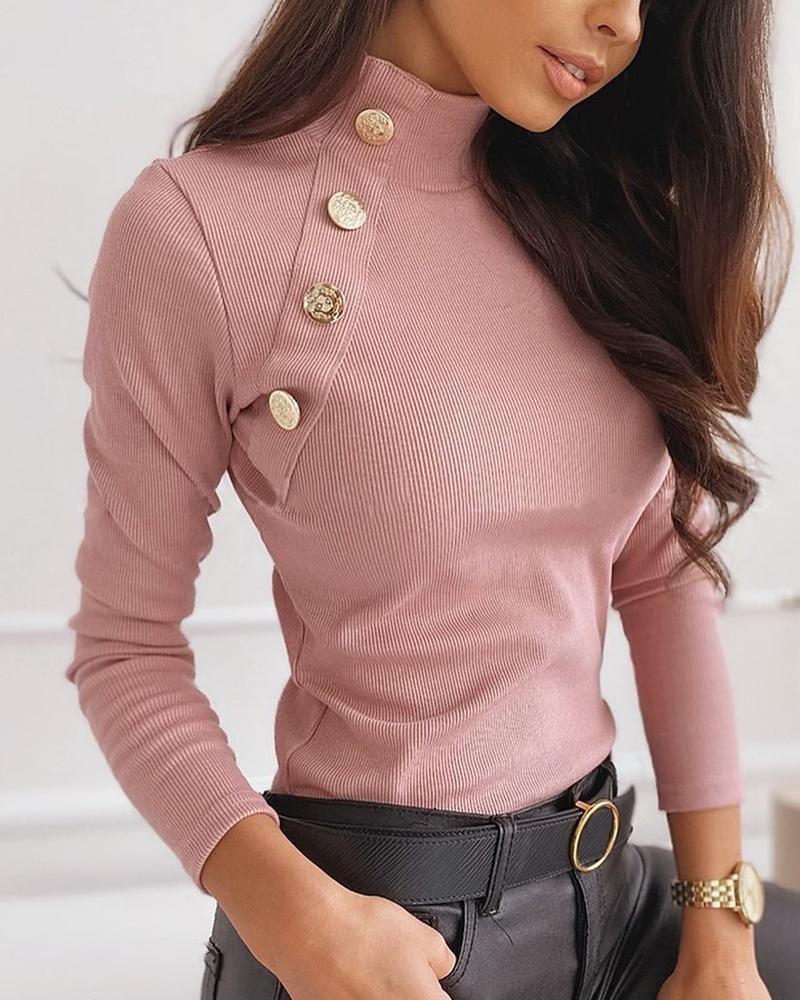 boutiquefeel / Suéter com nervuras com detalhes e abotoado