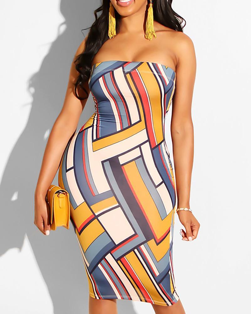 Geo Print Tube Bodycon Dress фото