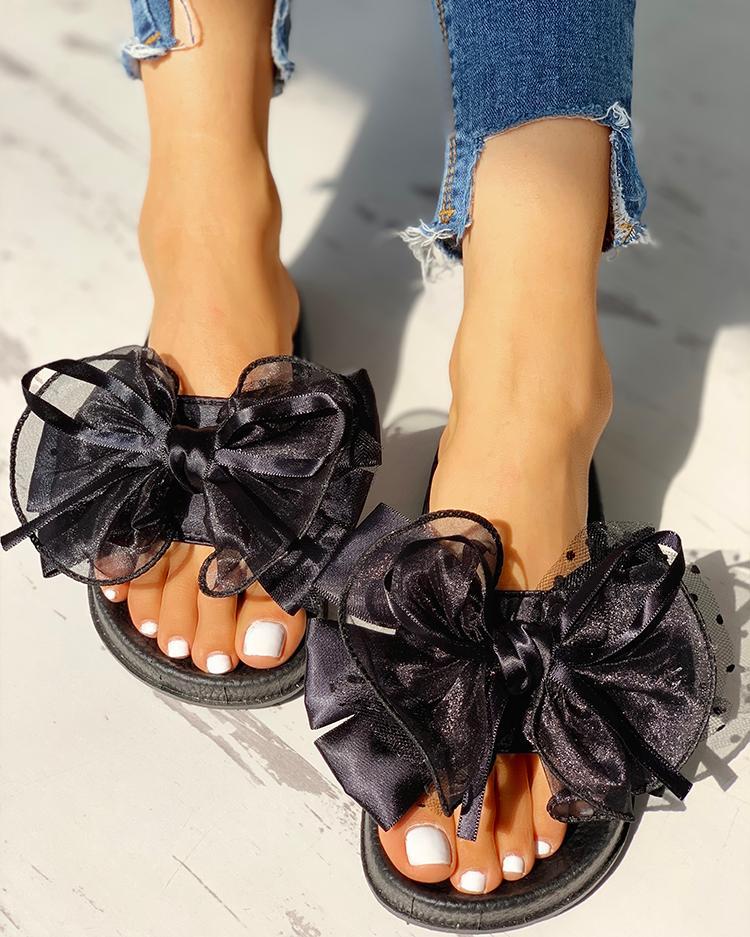 Mesh Bowknot Design Open Toe Sandals