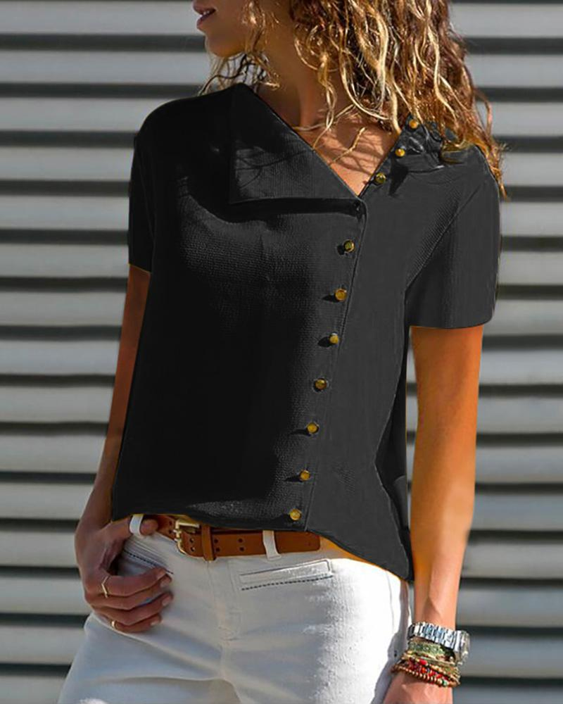 Short Sleeve Buttoned Casual Blouse фото