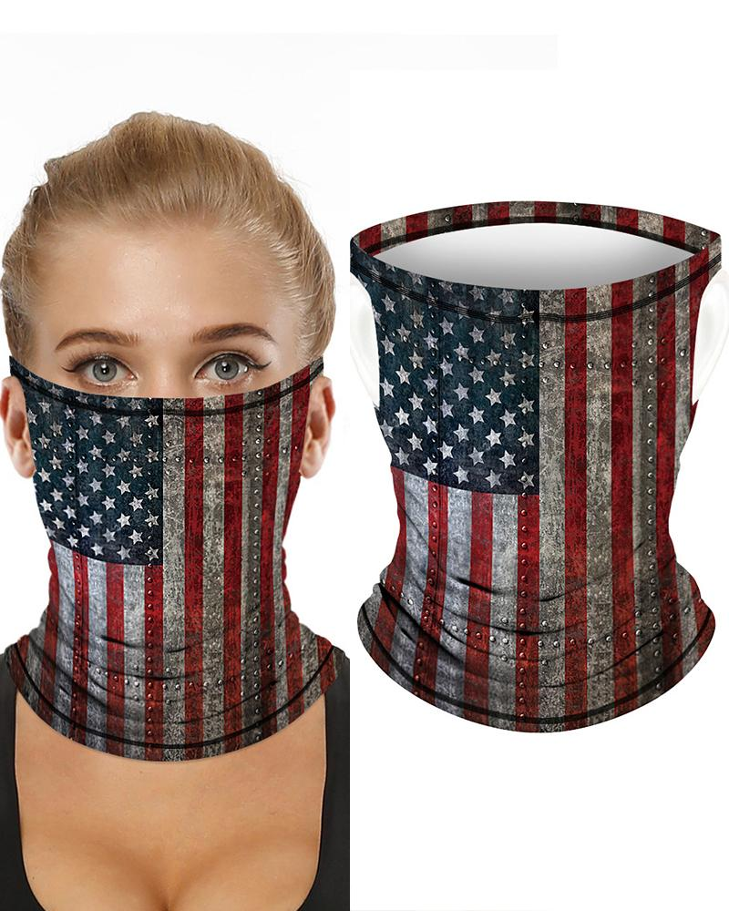 Flag Print Breathable Ear Loop Face Bandana Headwrap фото